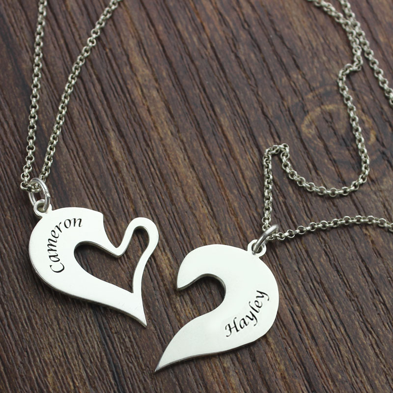 Breakable Heart Name Necklace for Couples Silver