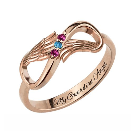 Angel Wings Infinity Ring with Birthstones