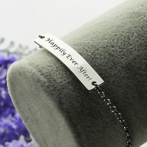 Bar Bracelet For Mom Sterling Silver