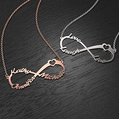 Heart Infinity Necklace Three Names Sterling Silver