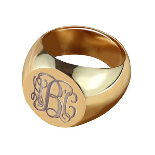 Circle Signet Monogram Initial Ring