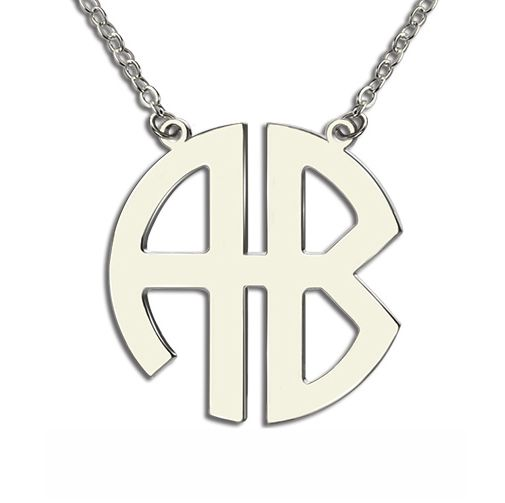 Personailzed Silver Two Initial Monogram