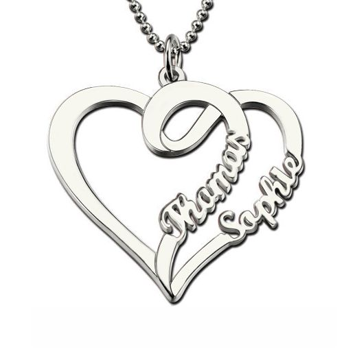 Love Heart Necklace With Two Names - Sterling Silver