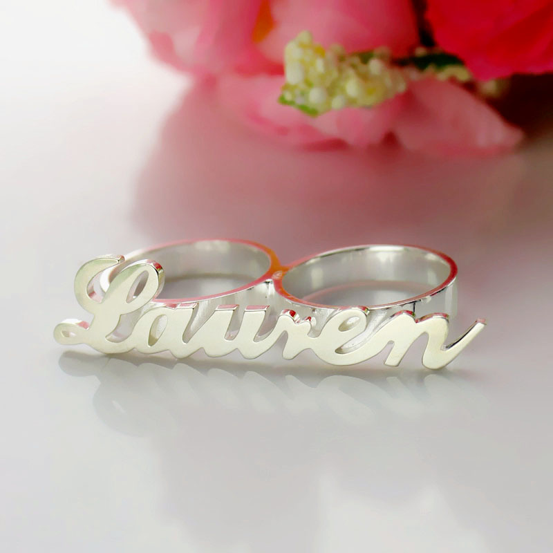 Personalized Allegro Two Finger Name Ring