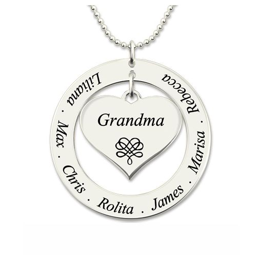 Engraved Circle Necklace Grandma Heart Pendant