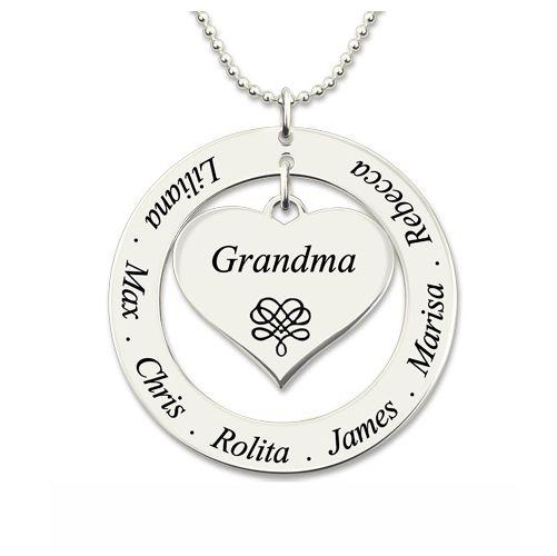 Engraved Circle Necklace Grandma Heart Pendant