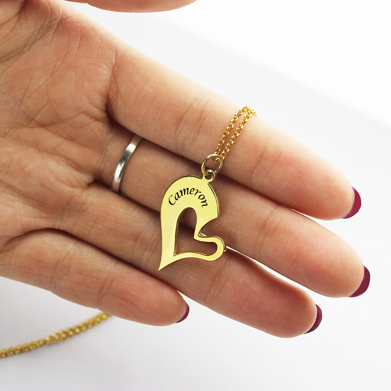 Breakable Heart Name Necklace for Couples in Gold