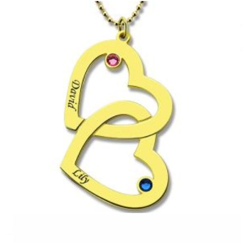 Women's Double Heart Name Necklace