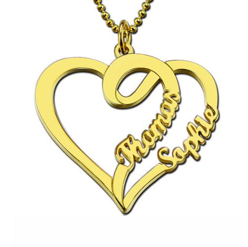 Love Heart Necklace Two Names Gold Plated Silver