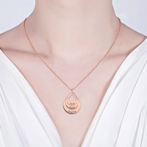 Engraved Drop Shaped Necklace In Rose Gold