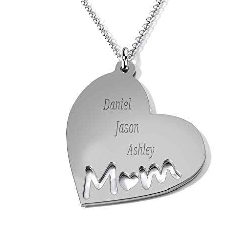 Silver Heart Necklace For Mother