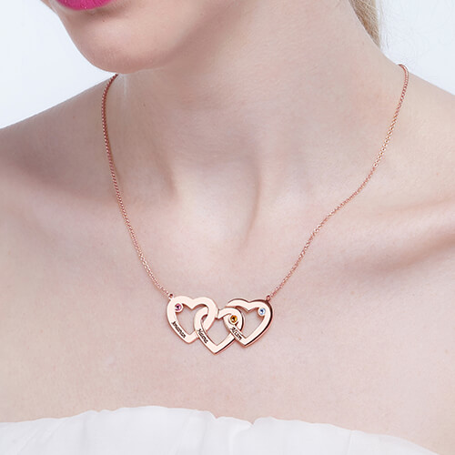Intertwined Hearts Birthstones Necklace In Rose Gold