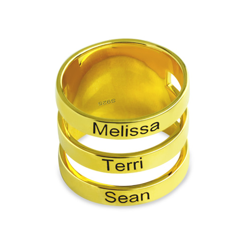Mother's Engraved Three Names Ring Gold Plated