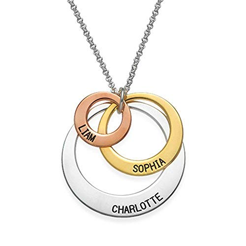 Three Disc Necklace for Mothers Silver Rose and Gold