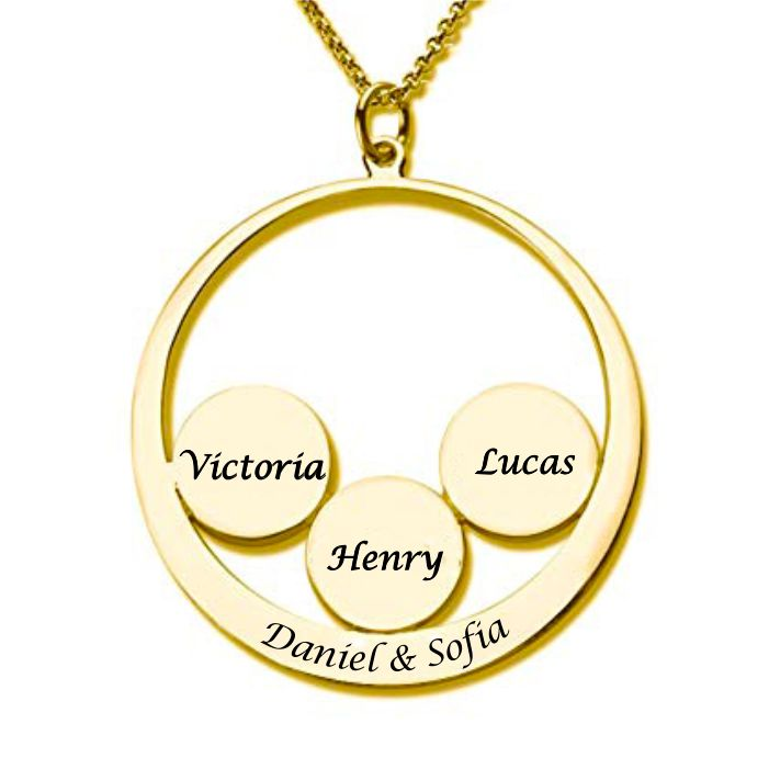 Classic Circle Engraved Necklace 18K Gold Plated