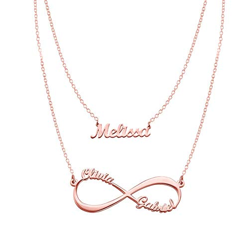 Rose Gold Plated Gift - Infinity and Name Necklaces