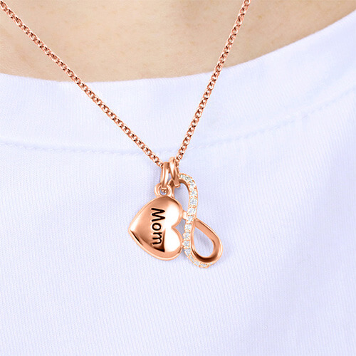 Custom Engraved Infinity Love Necklace In Rose Gold