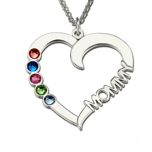 Sterling Silver Birthstone Heart Necklace