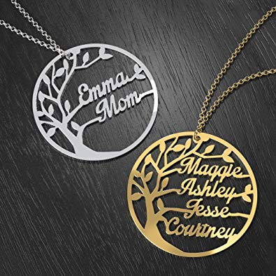 Personalized Family Name Necklace Sterling Silver