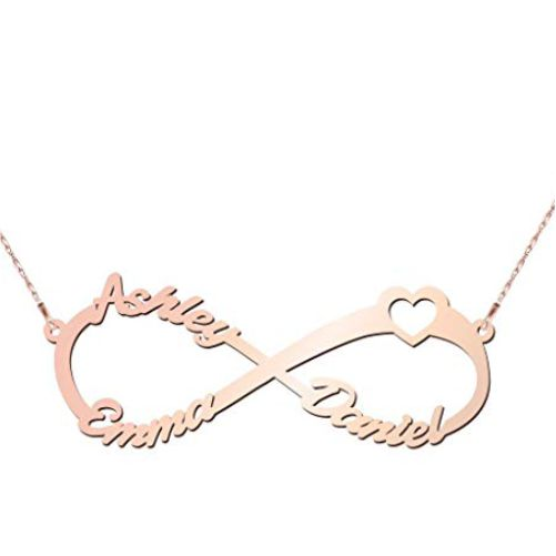 Infinity Necklace 3 Names - Rose Gold Plated