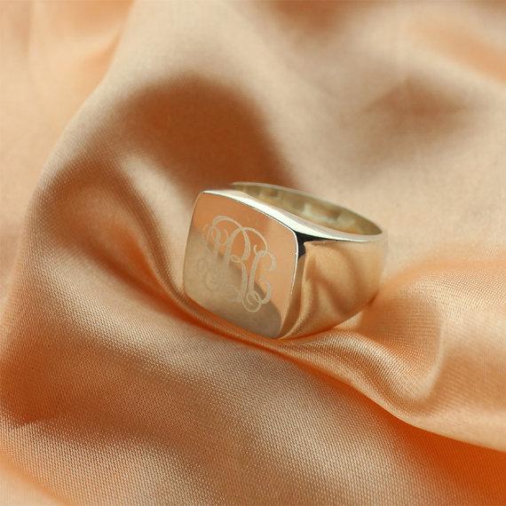 Square Designs Monogram Ring Sterling Silver