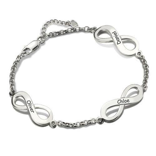 Infinity Mother's Bracelet Sterling Silver