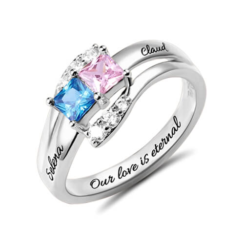 Custom Engraved Ring - Two Birthstones Sterling Silver