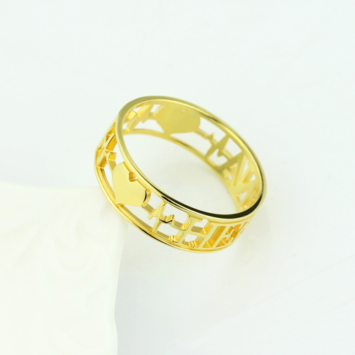 Heartbeat Ring with Name Gold Plated Silver