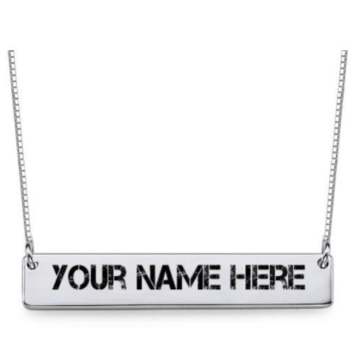 Engraved Name Bar Necklace Sterling Slver