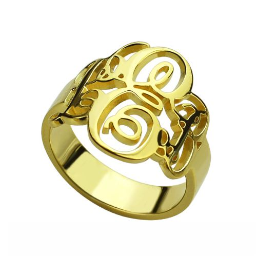 Interlocking Monogram Ring 18K Gold Plated