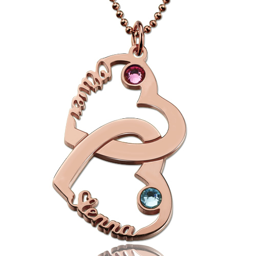 Heart in Heart Name Necklace Rose Gold