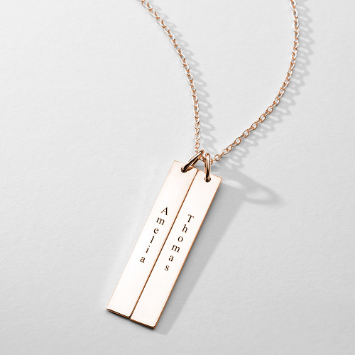 Engraved Bar Necklace Rose Gold Plated