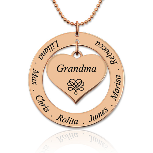 Engraved Circle Necklace Mother/Grandma Heart