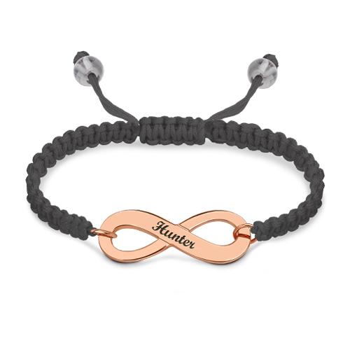 Engraved Infinity Symbol Cord Bracelet Rose Gold