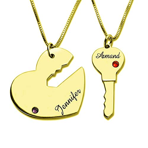 Engraved Breakable Heart Name Necklace for Couples 18k Gold Plated