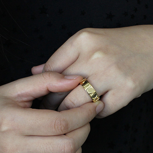 18K Gold Plated Roman Numeral Date Rings