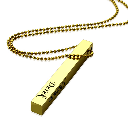 Bar Necklace Engraved Pendant