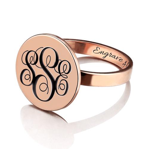 Engraved Monogram Signet Ring - Rose Gold