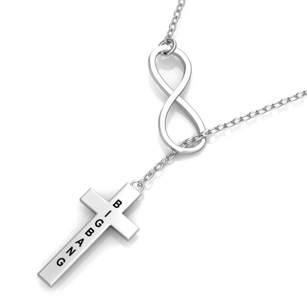 Cross Engraved Bar Necklace 925 Sterling Silver