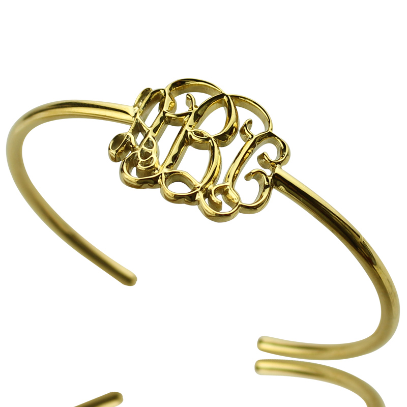 Celebrity Monogram Initial Bangle 18K Gold Plated