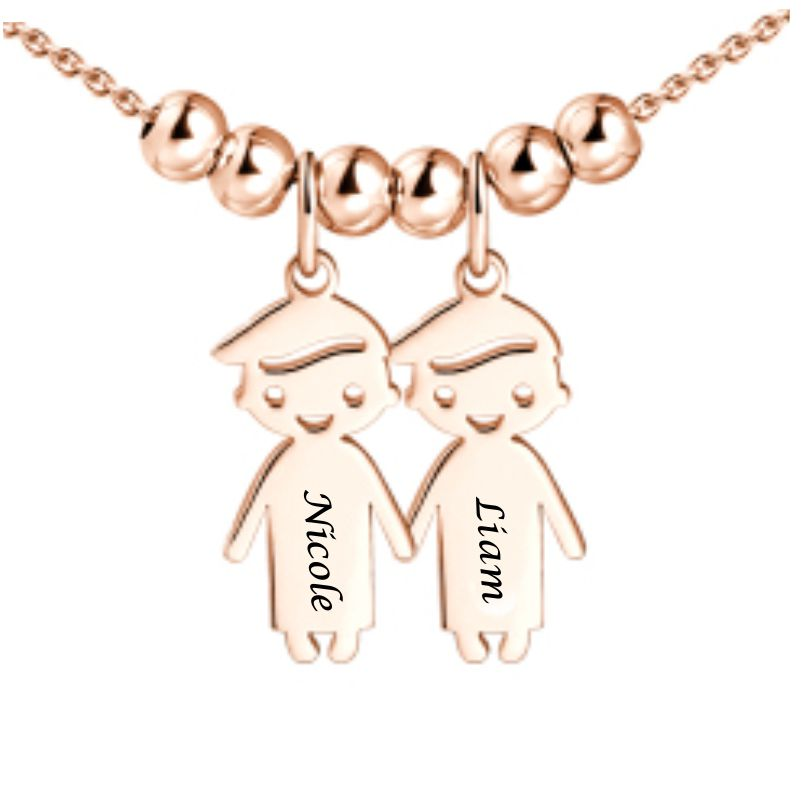Mother's Necklace with 2-5 Children Charms Rose Gold Plated