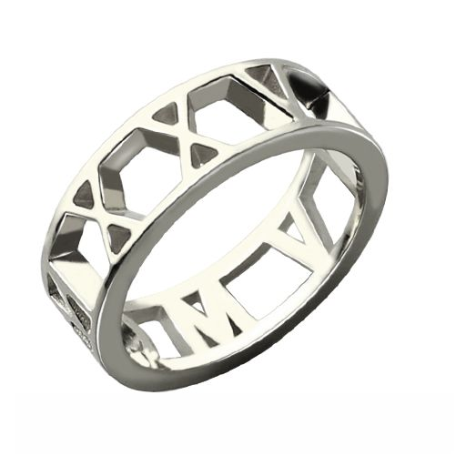 Roman Numerals Open Ring Sterling Silver