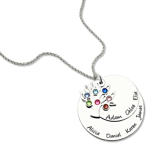 Personalized Silver Disc Family Tree Necklace
