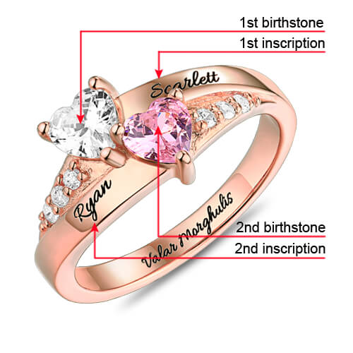 Engraved Double Heart Birthstone Ring In Rose Gold