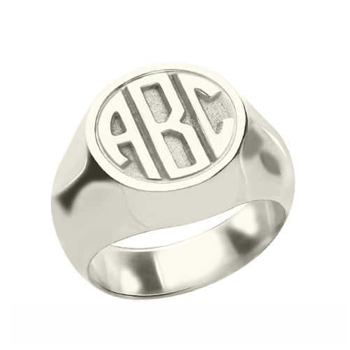 Personalized Signet Ring Block Monogram