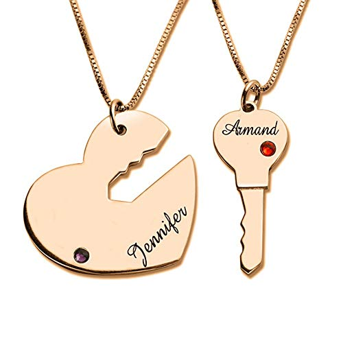 Engraved Breakable Heart Name Necklace for Couples Rose Gold