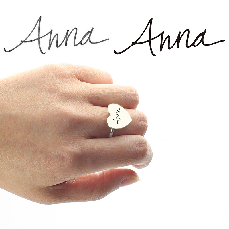 Personalized Signature Ring Handwriting Sterling Silver