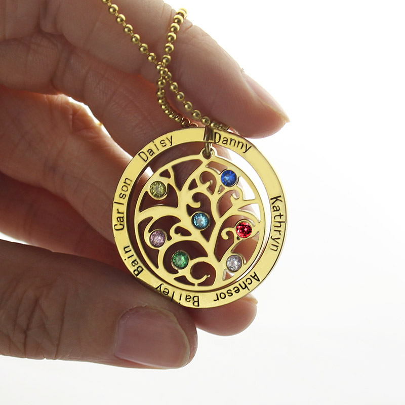 Family Tree Birthstone Necklace In Gold