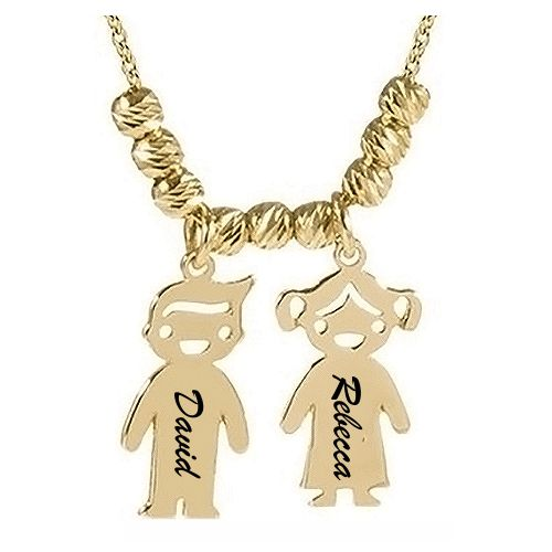 Mother's Necklace with 2-5 Children Charms 18k Gold Plated