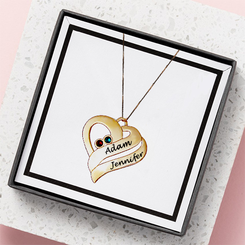 Two Hearts Necklace 18k Gold Plated